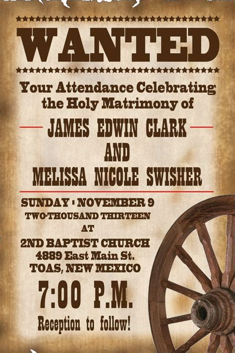 4x6 Old West WANTED Wedding Invitation by PayneGraphics on