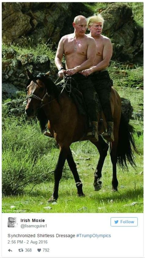 """Putin and Trump shirtless on a horse """"Synchronized"""