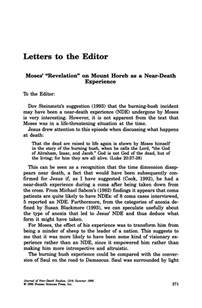 """Letters to the Editor: Moses' """"Revelation"""" on Mount Horeb"""