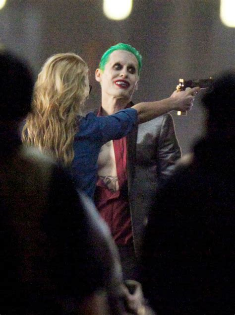 Jared Leto and Margot Robbie in costume on Suicide Squad