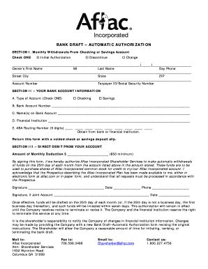 Changing Bank Draft For Aflac Ins - Fill Online, Printable
