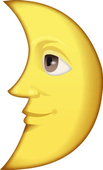 Download First Quarter Moon With Face Emoji Image in PNG