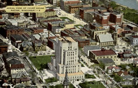 Aerial View Of Court House Racine, WI