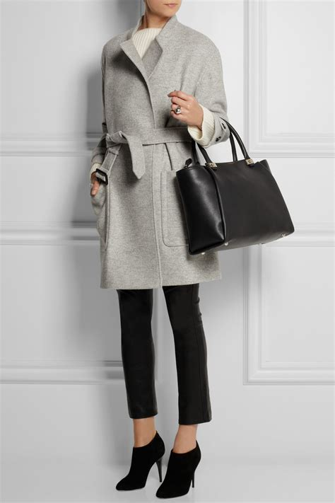 Lyst - Burberry Belted Wool Coat in Gray