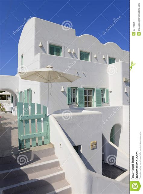 White And Blue House Details In Oia Village Royalty Free