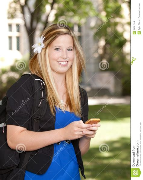 College Girl With Phone Stock Images - Image: 21081784