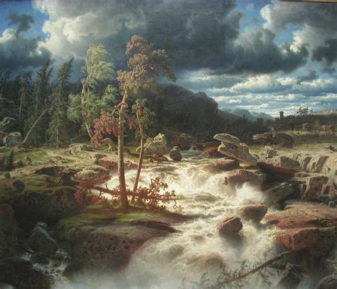 Waterfall in Småland, 1856 - Marcus Larson - WikiArt