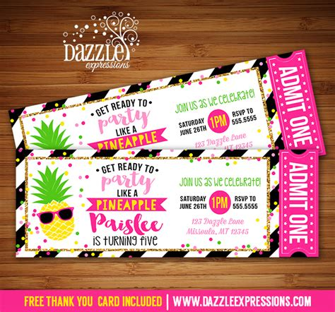 Printable Party Like a Pineapple Ticket Birthday