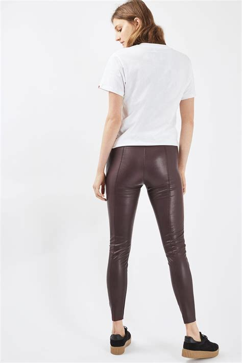 TOPSHOP Stretch Faux Leather Leggings - Lyst