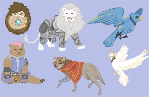 Overwatch heroes as animals- sticker designs I did