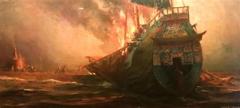 'The Burning Ship SOLD' by Anton Otto Fischer (American
