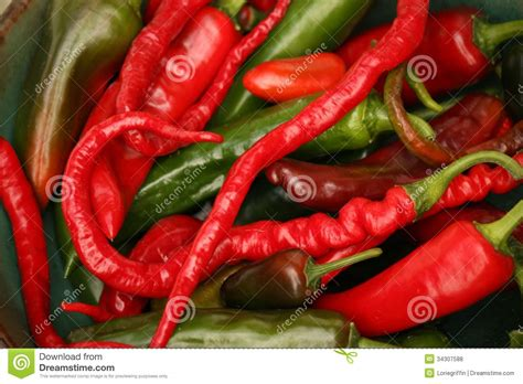 Red And Green Hot Chili Pepper Varieties Stock Photo
